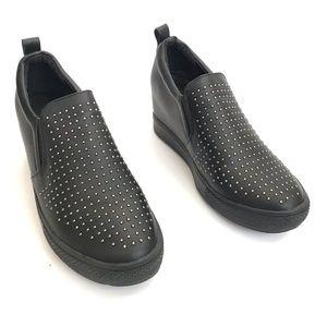 Wanted Torrey Wedge Black Studded Slip On Sneaker